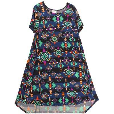 LuLaRoe CARLY Small S Geometric Dark Blue Navy Swing Dress fits Women 6-8