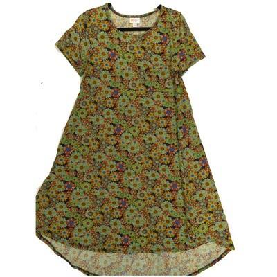 LuLaRoe CARLY Small S Floral Blue Green Yellow Swing Dress fits Women 6-8