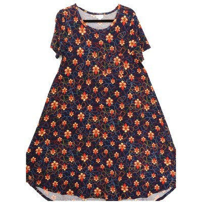 LuLaRoe CARLY Small S Floral Navy Red Cream Swing Dress fits Women 6-8