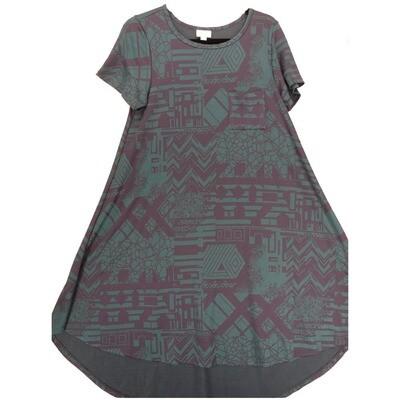 LuLaRoe CARLY Small S Geometric Teal Blue Navy Swing Dress fits Women 6-8