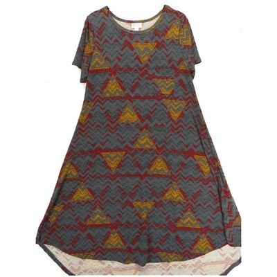 LuLaRoe CARLY Small S Geometric Zig Zag Gray Blue Maroon Gold Swing Dress fits Women 6-8