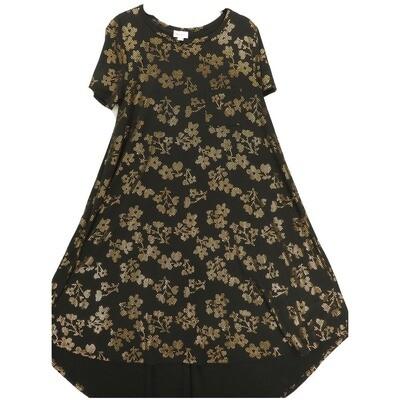 LuLaRoe CARLY Small S Elegant Collection Black Rose Gold Metallic Swing Dress fits Women 6-8