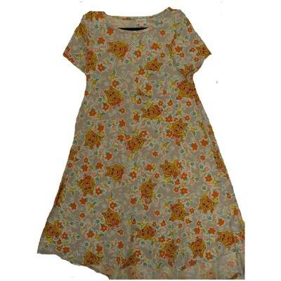 LuLaRoe CARLY Small S Disney Ms Piggy Light Gray Orange Yellow Swing Dress fits Women 6-8