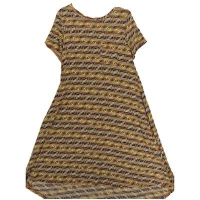 LuLaRoe CARLY Small S Aztek Southwestern Geometric Light Orange Slate Blue White Swing Dress fits Women 6-8