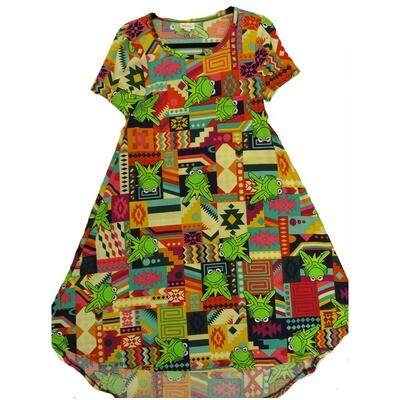 LuLaRoe CARLY XX-Small XXS Disney Kermit the Frog Swing Dress fits Women 00-0