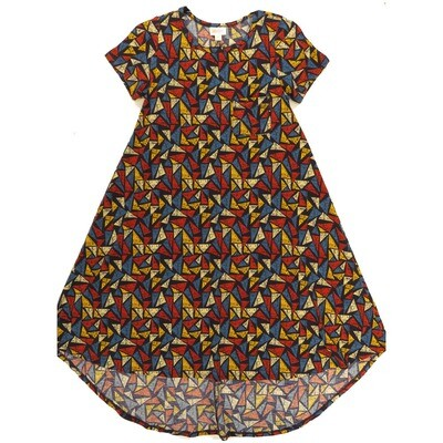 LuLaRoe CARLY XX-Small XXS Geometric Red Blue Yellow Swing Dress fits Women 00-0