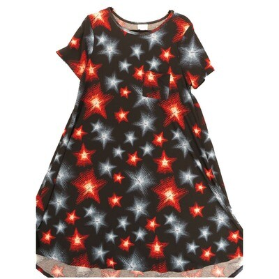 LuLaRoe CARLY Medium M Americana Stars Black Red White Blue Swing Dress fits Women 10-12