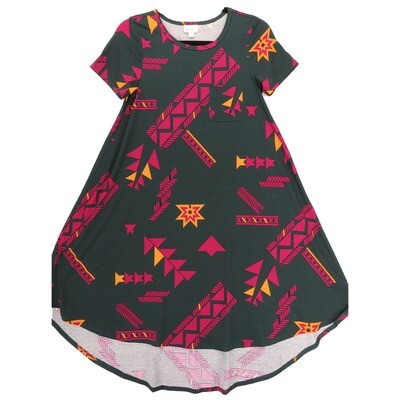 LuLaRoe CARLY XX-Small XXS Geometric Pine Green Fucshia Orange Swing Dress fits Women 00-0
