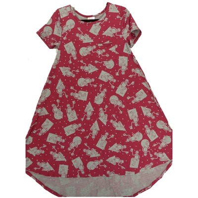 LuLaRoe CARLY X-Small XS disney Kermit the Frog Wine Gray Swing Dress fits Women 2-4
