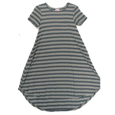 LuLaRoe CARLY XX-Small XXS Blue Gray White Ribbed Stripe Swing Dress fits Women 00-0