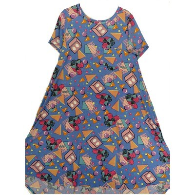 LuLaRoe CARLY Medium M Disney Mickey Mouse Polka Dot Pink Blue Mustard Swing Dress fits Women 10-12