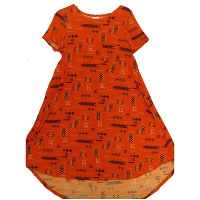 LuLaRoe CARLY X-Small XS Black Red Orange Aztek Southwestern Geometric Swing Dress fits Women 2-4