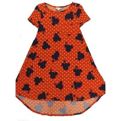 LuLaRoe CARLY XX-Small XXS Disney Minnie Mouse Polka Dot Red Navy Pink Swing Dress fits Women 00-0
