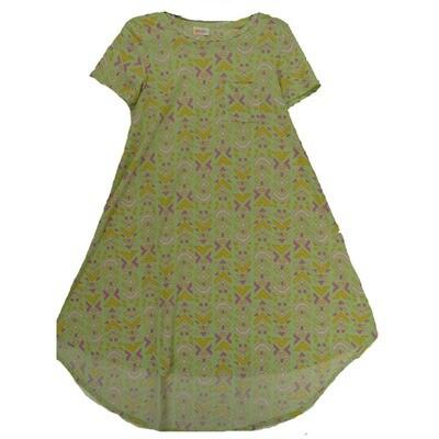 LuLaRoe CARLY XX-Small XXS Geometric Sea Foam Green Yellow Lavender Swing Dress fits Women 00-0