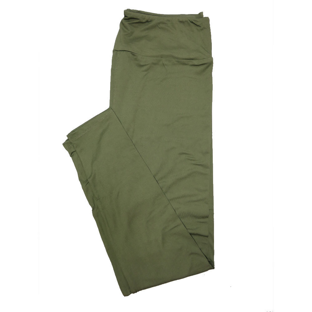 LuLaRoe Tall Curvy TC Solid Army Green (180316) Womens Leggings fits Adult sizes 12-18