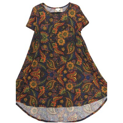 LuLaRoe CARLY X-Small XS Floral Paisley Geometric Black Red Green Blue Swing Dress fits Women 2-4