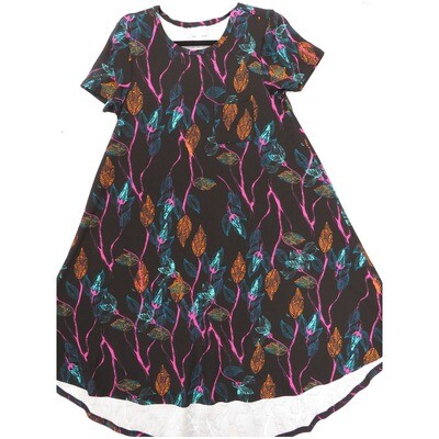 LuLaRoe CARLY X-Small XS Floral Thicker Material Black Hot Pink Turquoise Swing Dress fits Women 2-4