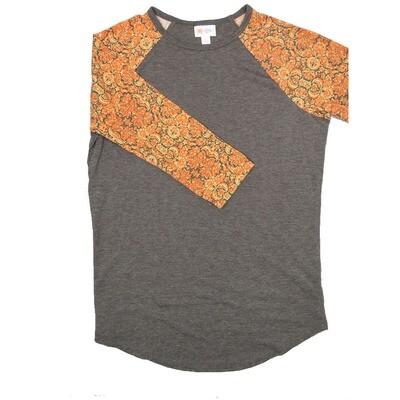 LuLaRoe RANDY Small Dark Gray with Coral Gray Floral Raglan Sleeve Unisex Baseball Tee Shirt - S fits 6-8