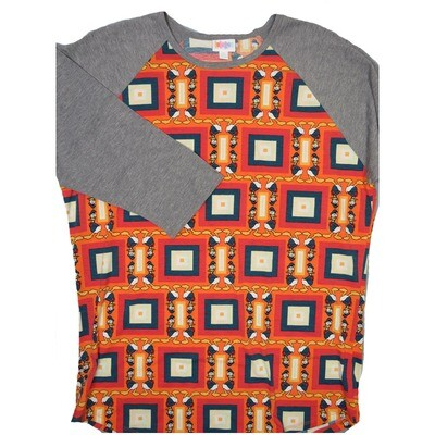 LuLaRoe RANDY XX-Large Disney Light Orange Red Navy Geometric Donald Duck with Gray Raglan Sleeve Unisex Baseball Tee Shirt - XXL fits22-24