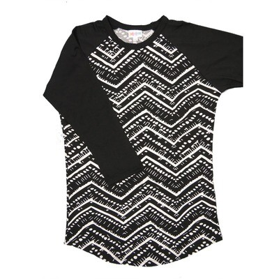 LuLaRoe RANDY X-Small Black White Geometric with Black Raglan Sleeve Unisex Baseball Tee Shirt - XS fits 2-4