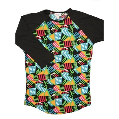 LuLaRoe RANDY X-Small Black Light Blue Green Red with Black Raglan Sleeve Unisex Baseball Tee Shirt - XS fits 2-4