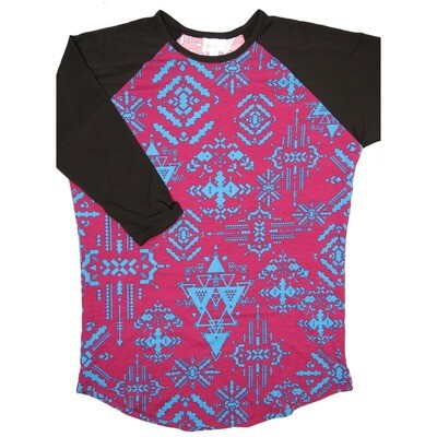 LuLaRoe RANDY Medium Cranberry Electric Blue Geometric with Black Raglan Sleeve Unisex Baseball Tee Shirt - M fits 10-12