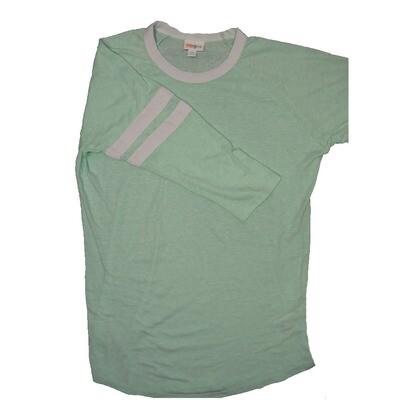 LuLaRoe RANDY Medium Light Mint with White Stripe on Raglan Sleeve Unisex Baseball Tee Shirt - M fits 10-12