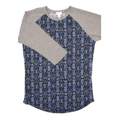 LuLaRoe RANDY Medium Navy Blue Olive Geometric with Gray Raglan Sleeve Unisex Baseball Tee Shirt - M fits 10-12