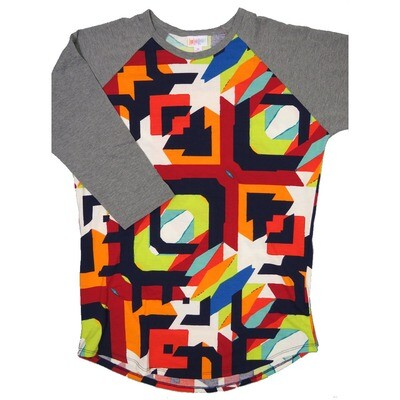 LuLaRoe RANDY Medium Purple Lime Orange Red Geometric Gray Raglan Sleeve Unisex Baseball Tee Shirt - M fits 10-12