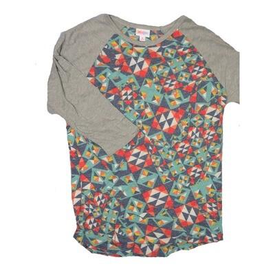 LuLaRoe RANDY Medium Purple Teal Coral Geometric with Gray Raglan Sleeve Unisex Baseball Tee Shirt - M fits 10-12