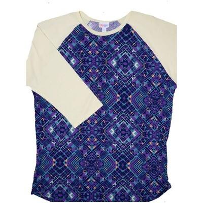 LuLaRoe RANDY X-Large Purple Light Blue Orange Geometric with Light Yellow Raglan Sleeve Unisex Baseball Tee Shirt - XL fits 18-20