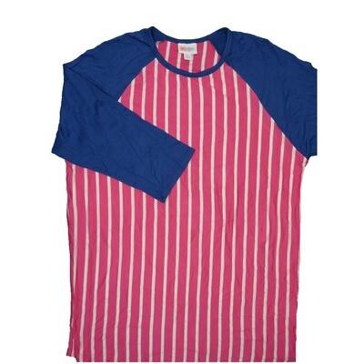 LuLaRoe RANDY X-Large Pink White Stripe with Purple Raglan Sleeve Unisex Baseball Tee Shirt - XL fits 18-20