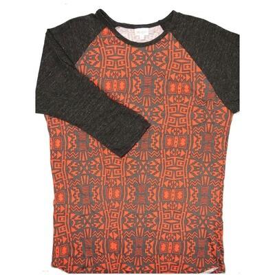 LuLaRoe RANDY X-Large Dark Gray Light Red Geometric with Heathered Black Raglan Sleeve Unisex Baseball Tee Shirt - XL fits 18-20
