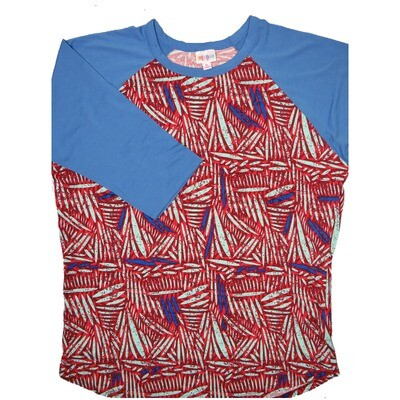 LuLaRoe RANDY X-Large Red Mint Blue Geometric with Blue Raglan Sleeve Unisex Baseball Tee Shirt - XL fits 18-20