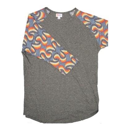 LuLaRoe RANDY Large Heathered Gray with Blue Yellow Orange Swirl Raglan Sleeve Unisex Baseball Tee Shirt - L fits 14-16