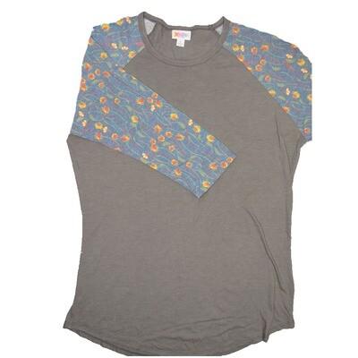 LuLaRoe RANDY Large Gray with Blue Yellow Orange Floral Raglan Sleeve Unisex Baseball Tee Shirt - L fits 14-16