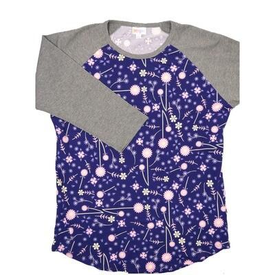 LuLaRoe RANDY Large Purple Pink Cream Floral Raglan Sleeve Unisex Baseball Tee Shirt - L fits 14-16