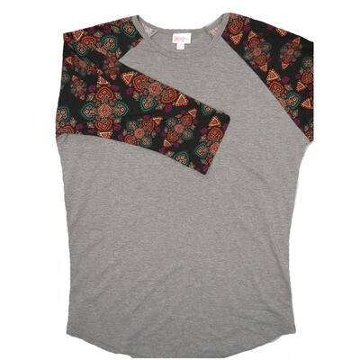 LuLaRoe RANDY Large Gray with Black Purple Truquoise Geometric Raglan Sleeve Unisex Baseball Tee Shirt - L fits 14-16