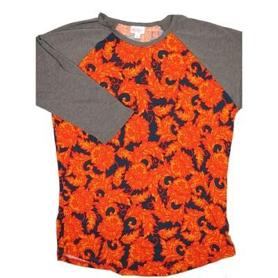 LuLaRoe RANDY Large Paisley Blue Orange Red with Gray Raglan Sleeve Unisex Baseball Tee Shirt - L fits 14-16