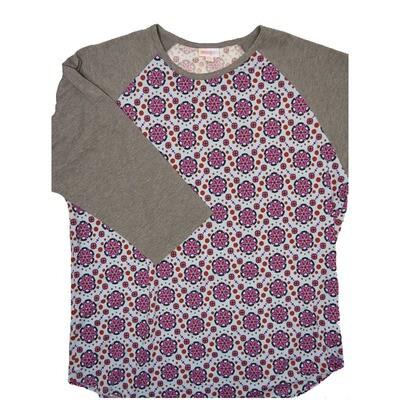 LuLaRoe RANDY XXX-Large Light Blue Purple Gray Mandala with Gray Raglan Sleeve Unisex Baseball Tee Shirt - XXXL fits 24-26