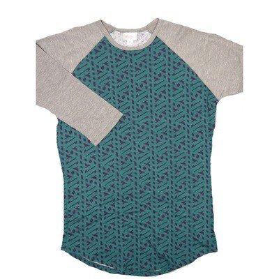 LuLaRoe RANDY X-Small Dark Turquoise Purple with Gray Raglan Sleeve Unisex Baseball Tee Shirt - XS fits 2-4