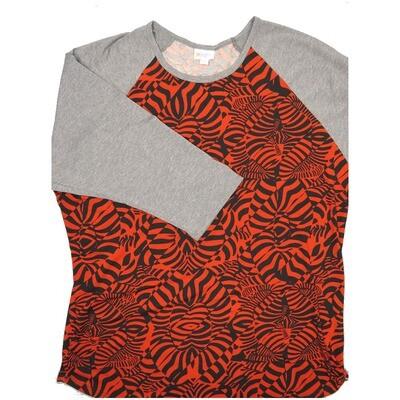 LuLaRoe RANDY XXX-Large Black Red Geometric with Gray Raglan Sleeve Unisex Baseball Tee Shirt - XXXL fits 24-26