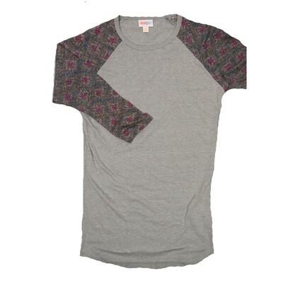 LuLaRoe RANDY XX-Small Light Gray with gold and Maroon Raglan Sleeve Unisex Baseball Tee Shirt - XXS fits 00-0