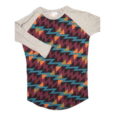 LuLaRoe RANDY X-Small Maroon Black Coral Gemoetric with Gray Raglan Sleeve Unisex Baseball Tee Shirt - XS fits 2-4