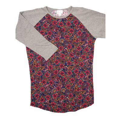 LuLaRoe RANDY X-Small Purple Red Paisley Floral with Gray Raglan Sleeve Unisex Baseball Tee Shirt - XS fits 2-4