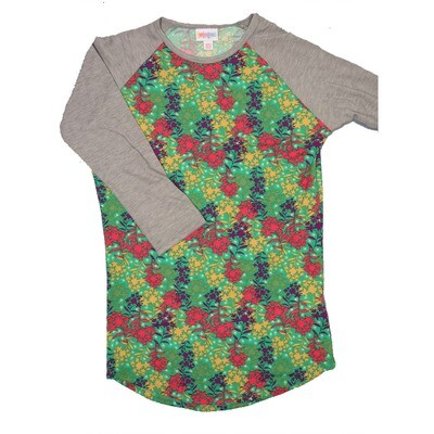 LuLaRoe RANDY XX-Small Green Red Purple Gold with Gray Raglan Sleeve Unisex Baseball Tee Shirt - XXS fits 00-0