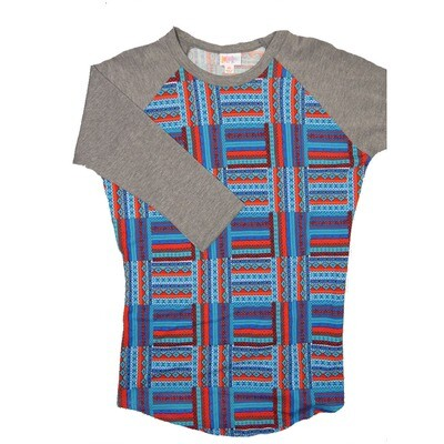 LuLaRoe RANDY X-Small Red White Blue Geometric with Dark Gray Raglan Sleeve Unisex Baseball Tee Shirt - XS fits 2-4