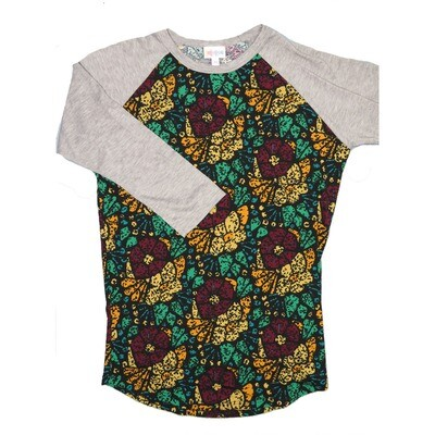 LuLaRoe RANDY X-Small Black Wine Gold Teal Geometric with Gray Raglan Sleeve Unisex Baseball Tee Shirt - XS fits 2-4