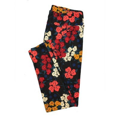 LuLaRoe Tall Curvy TC Leggings Roses (TC fits 12-18) TC-7024-P