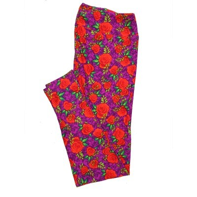 LuLaRoe Tall Curvy TC Leggings Roses (TC fits 12-18) TC-7025-J